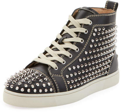 Christian Louboutin Men's Louis Mid-Top Spiked Leather Sneakers