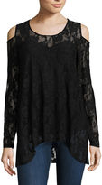 Libby Edelman Long Sleeve Cold Shoulder Lace Top