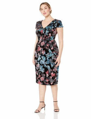 Dress the Population Women's Size Allison Plunging Sequin Fitted Midi Sheath Dress Plus Black Multi 3X