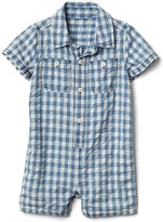 Gap Gingham denim shorty one-piece