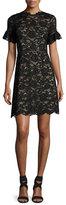 Rebecca Taylor Short-Sleeve V-Neck Lace Dress