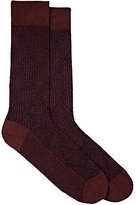 Barneys New York MEN'S DIAMOND-PATTERN COTTON-BLEND MID-CALF SOCKS-BURGUNDY, NAVY