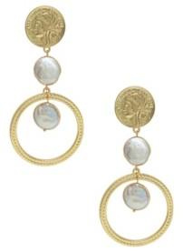 Ettika Your Majesty Coin Pearl Drop Earrings