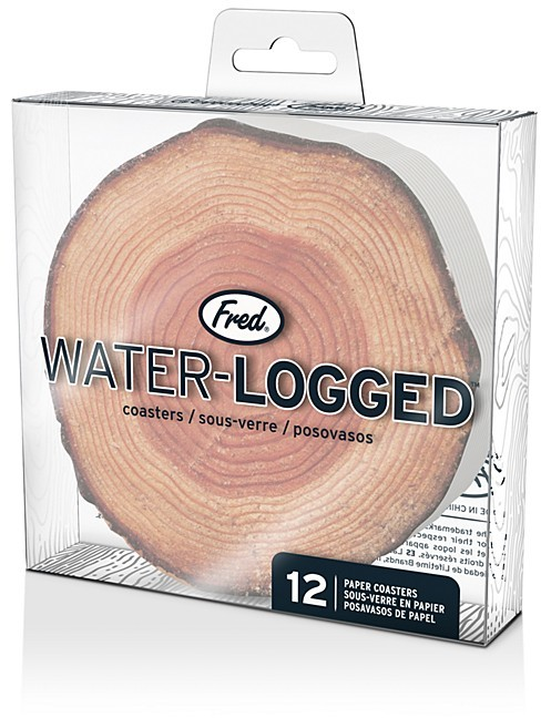 Fred & Friends Water Logged Wood Coaster, Set of 12