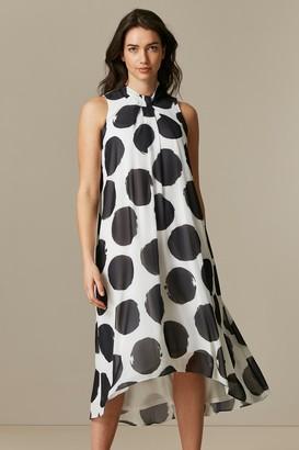 Wallis Monochrome Polka Dot Overlay Dress