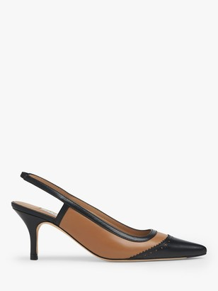 LK Bennett Holly Leather Slingback Heels, Beige/Black