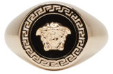 Versace Gold & Black Large Medusa Ring