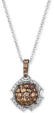 "LeVian Le Vian Chocolatier Diamond Cluster 18"" Pendant Necklace (5/8 ct. t.w.) in 14k White Gold"