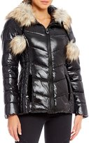 Gianni Bini Fitted Puffer Jacket Faux Fur Pom Pom