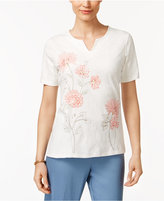 Alfred Dunner Botanical Garden Embroidered Beaded Top