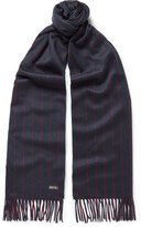 Loro Piana Striped Baby Cashmere Scarf - Navy