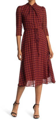 Gabby Skye 3/4 Length Sleeve Houndstooth Print Dress