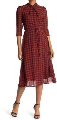 Gabby Skye 3/4 Length Sleeve Houndstooth Print Dress