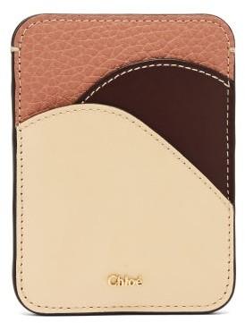 Chloé Walden Colour-blocked Leather Cardholder - Beige
