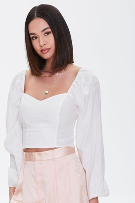 Forever 21 Sweetheart Peasant-Sleeve Top