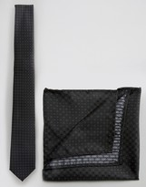 Selected Black Dotted Tie and Pocket Square