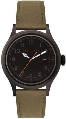 Ted Baker Lngisla Gunmetal-Tone Stainless Steel Leather-Strap Watch