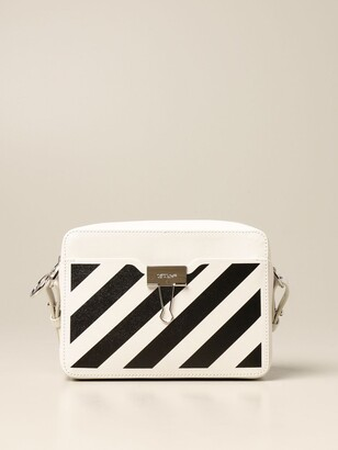 Off-White Off White Bag / Waist Bag In Saffiano Leather With Diagonal Print