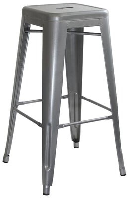 "Williston Forge Winthrop Bar & Counter Stool Seat Height: Bar Stool (30"" Seat Height), Color: Silver, Pack Size: 2"