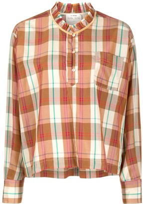 Forte Forte Ruffle-Collar Plaid Shirt