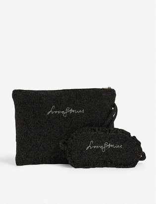 LOVE Stories Logo-embroidered eye mask and toiletry bag woven sleepover set