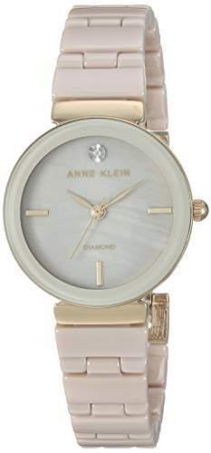 Anne Klein Women's AK/3392TNGB Diamond-Accented Gold-Tone and Tan Ceramic Bracelet Watch