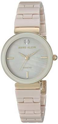 Anne Klein Women's AK/3392TNGB Diamond-Accented Gold-Tone and Tan Ceramic Bracelet Watch