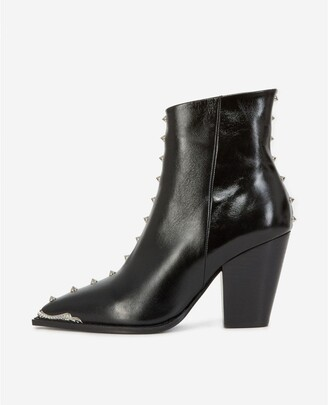 The Kooples Black leather ankle boots with studs