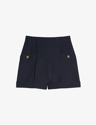 Sandro Siena high-waisted wool-blend shorts