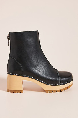 Swedish Hasbeens Stitchy Ankle Boots By in Black Size 40