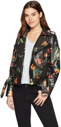 Bagatelle Women's Belted Print Faux Leather Biker Jacket
