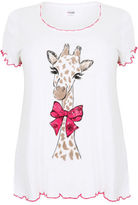 Yours Clothing YoursClothing Plus Size Womens Ladies Ivory Pretty Giraffe Print Pyjama Top