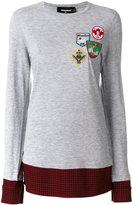 DSQUARED2 flannel-panelled sweatshirt - women - Cotton/Viscose/Wool - XS