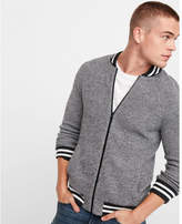 Express zip front baseball cardigan