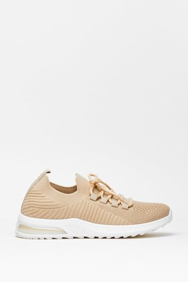 Nasty Gal Womens Run Knit Ribbed Trainers - Beige - 3