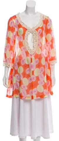 Diane von Furstenberg Crochet-Accented Printed Top