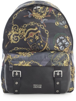 Versace Printed Nylon & Leather Backpack