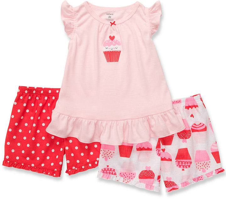 Carter's Baby Set, Baby Girls Three-Piece Cotton Pajamas