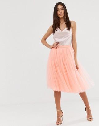 Little Mistress tulle midi prom skirt in coral-Orange