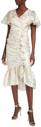 Mestiza New York Valdora Metallic Flutter-Sleeve Midi Flounce Dress
