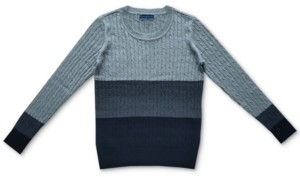 Karen Scott Erica Cable-Knit Colorblocked Cotton Sweater, Created for Macy's