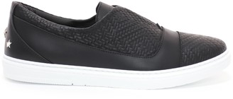 Jimmy Choo CASPIAN Black Embossed Diamond Weave Leather and Sport Calf Slip On Trainer