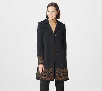 Dennis Basso Embellished Luxe Crepe Button-Front Topper