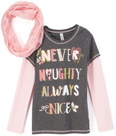Beautees Gray & Pink 'Never Naughty' Tee & Scarf - Girls