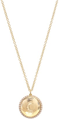 Noush 14ct Yellow Gold Diamond And Clear Quartz Moon Necklace