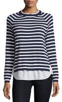 Joie Zaan Striped Sweater-Shirt Combo Top, Dark Navy/Natural