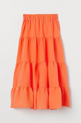 H&M Wide-cut Maxi Skirt - Orange