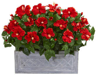 Nearly Natural Hibiscus Artificial Plant in Stone Planter