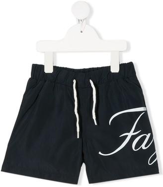 Fay Kids Logo Drawstring Swimming Shorts