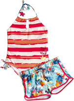 Big Chill Coral Stripe One-Piece & Floral Shorts - Girls